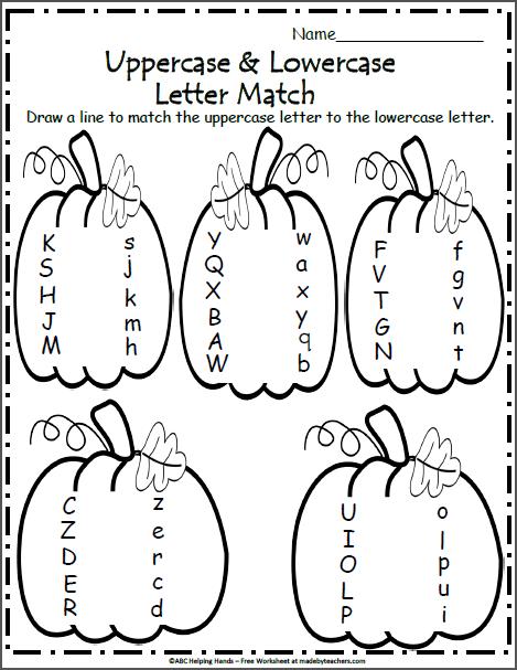 Harvest Time Letter Matching Worksheet - Madebyteachers