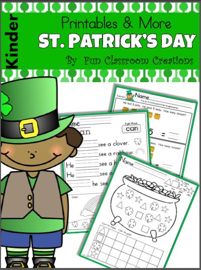 St. Patrick's Day Kindergarten Workbook