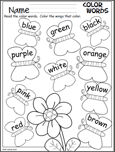 Butterfly Color Words Activity - Madebyteachers