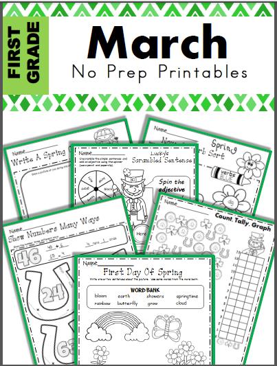 March No Prep Printables for 1st Grade