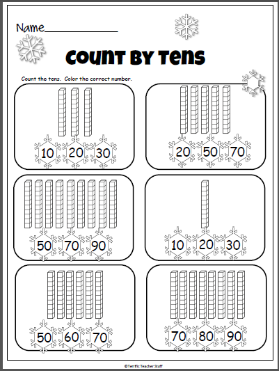 picture about Base Ten Blocks Printable named Wintertime Counting Through 10s (Foundation 10 Blocks) - Madebyteachers