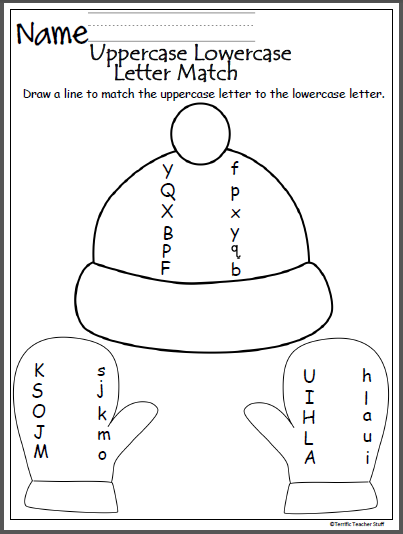 image regarding Upper and Lowercase Letters Printable known as Wintertime Uppercase Lowercase Letter Matching - Madebyteachers