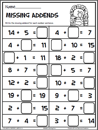 November Math Printables - 1st Grade