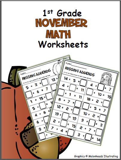 November Math Worksheets First Grade