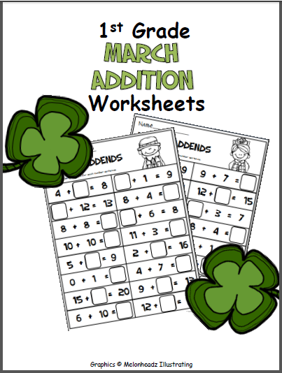 March-Math-Printables-1st-Grade-cover Questions Cut And Paste Worksheet on body parts, for kids, farm animals, shape matching, fall color,