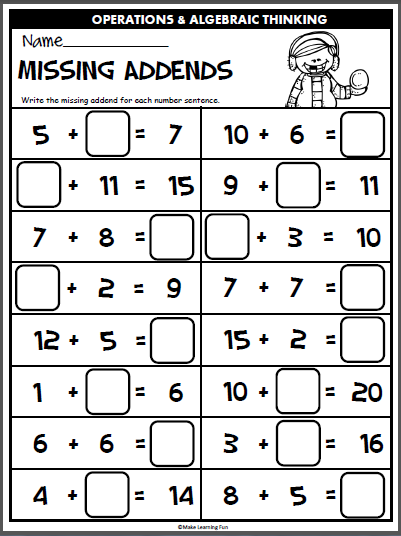Winter Math for 1st Grade (Common Core Aligned)