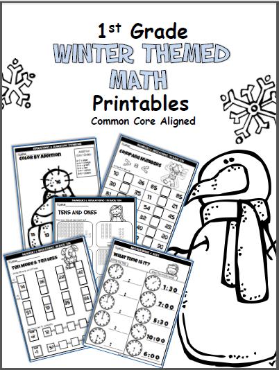 Winter Math Worksheets First Grade