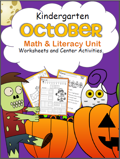 October Kindergarten Math and Literacy Worksheets and Printables