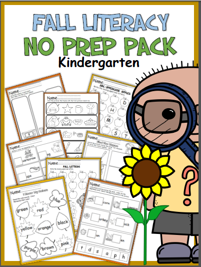 Fall Kindergarten Literacy No Prep