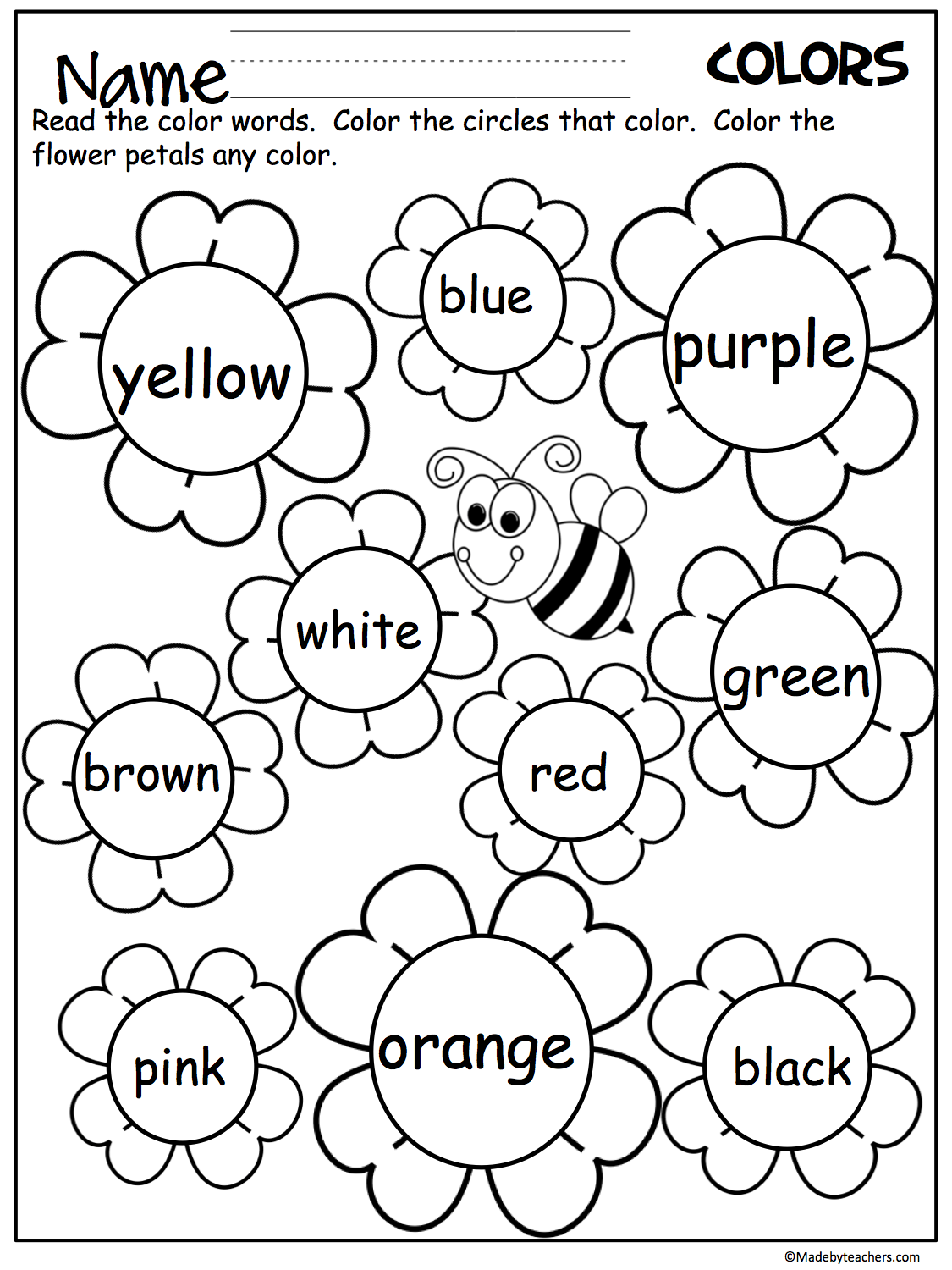 flower color words worksheet madebyteachers. Black Bedroom Furniture Sets. Home Design Ideas