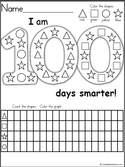 Free 100th Day of School Graph