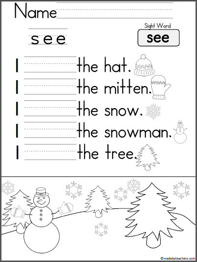 Kindergarten Writing Practice - I See - Madebyteachers