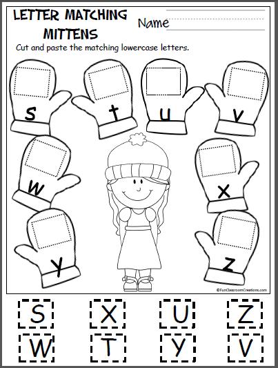Free Alphabet Worksheets Kindergarten Winter PDF