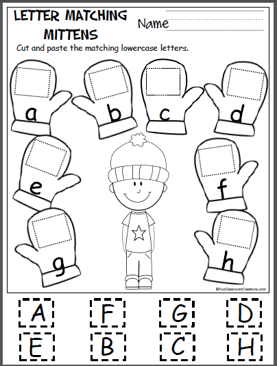 Free Letter Matching Worksheets Winter Kindergarten