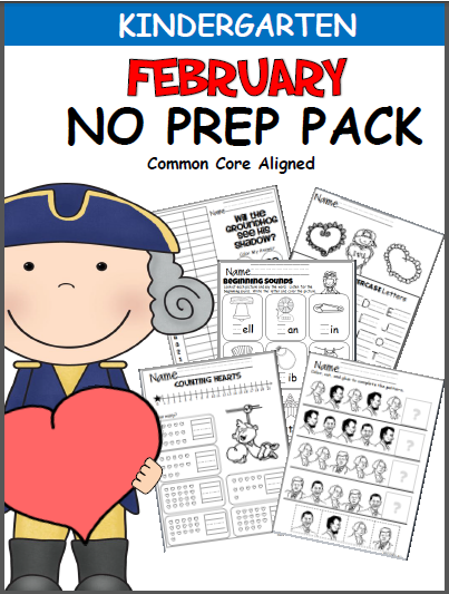 February No Prep Kindergarten