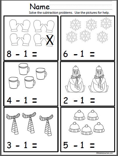Winter Math (Subtract One) - Madebyteachers
