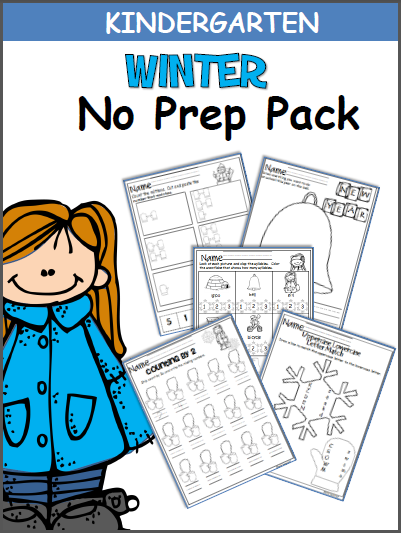 Winter No Prep Pack for Kindergarten Worksheets