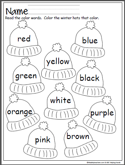 Colorful Winter Hats - Read the Color Words