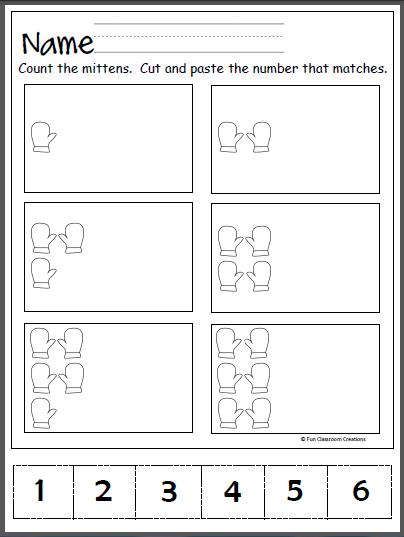 Free Winter Number Practice Worksheet for Kindergarten