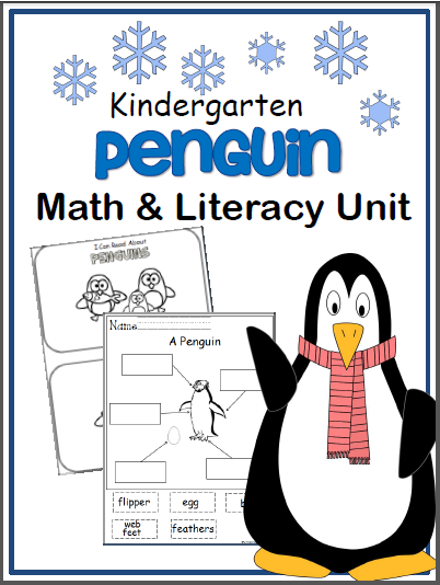 Kindergarten Penguin Math and Literacy Workbook
