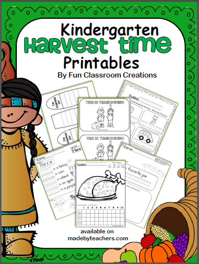 Harvest Time Kindergarten Workbook