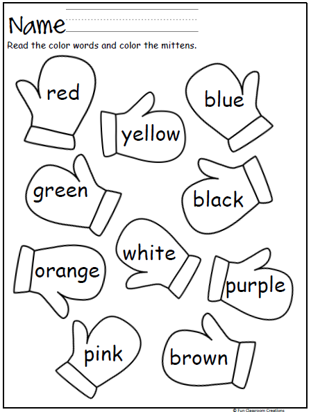 Mitten Color Words Practice Worksheet Kindergarten