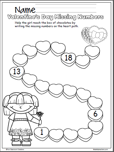 Valentine's Day Missing Numbers Activity 1-20 - Madebyteachers