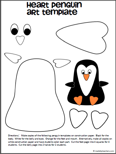 Free penguin art template hearts