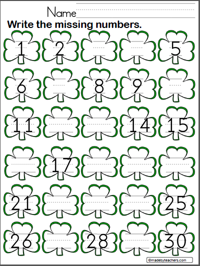St. Patrick's Day Write the Missing Numbers to 30 - Madebyteachers