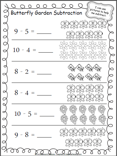 butterfly garden subtraction worksheet madebyteachers. Black Bedroom Furniture Sets. Home Design Ideas