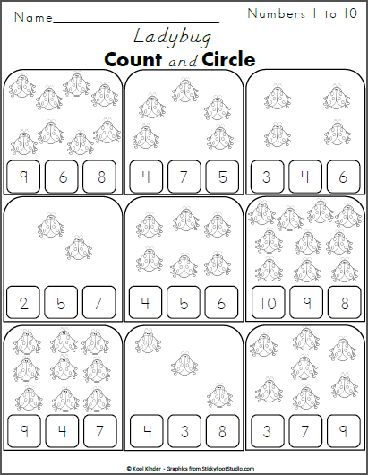 free kindergarten math worksheet counting ladybugs