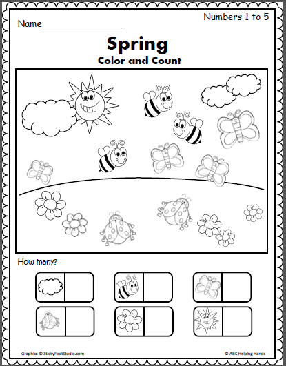 Free Spring Counting Worksheets