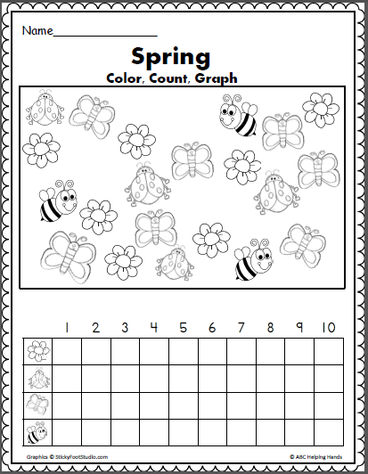 Spring Color Count and Graph Math Activity - Madebyteachers