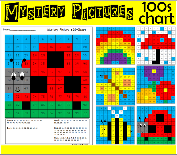 Hundreds Chart Mystery Pictures Spring Math