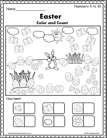 Spring Easter Counting Worksheet