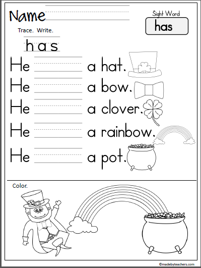 St Patrick S Day Sight Word Practice Has Madebyteachers
