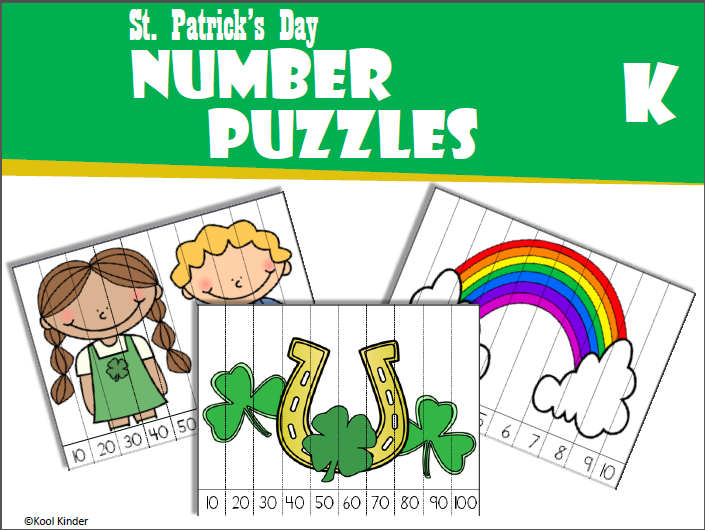 St. Patrick's Day Puzzles Counting Kindergarten