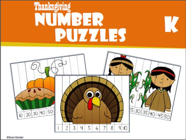 Thanksgiving Number Puzzles Kindergarten