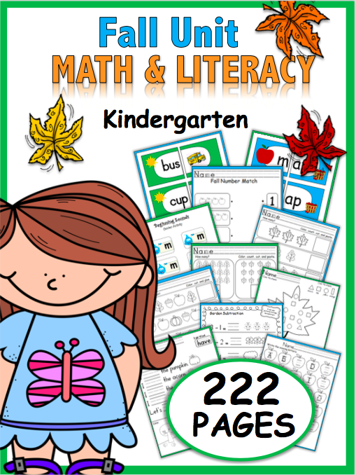 Fall Kindergarten Math and Literacy Kindergarten