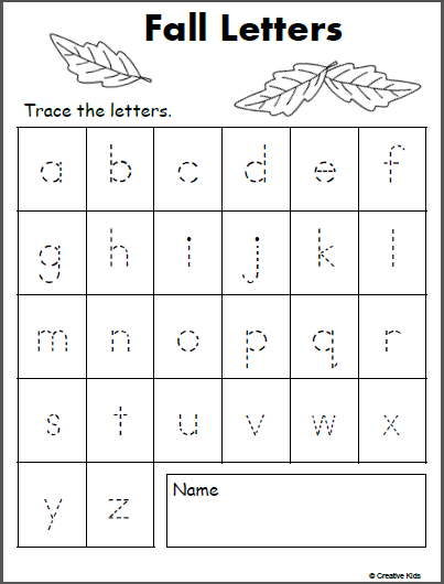 Free Lowercase Letter Tracing - Fall - Madebyteachers
