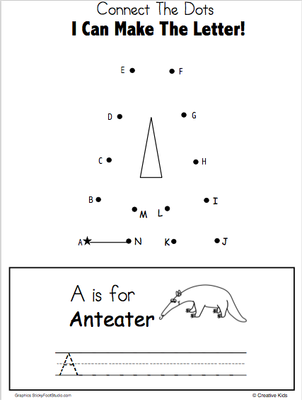 Free Letter A Worksheet - dot to dot printable