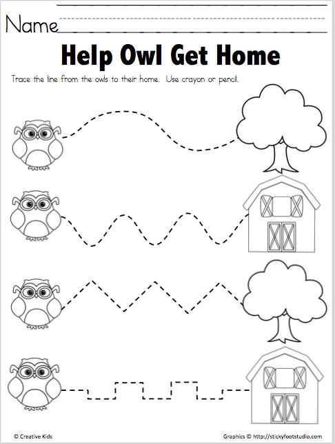 Trace The Path Free Printable - Help Owl - Madebyteachers