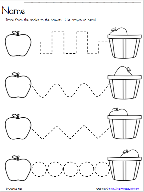 apple time free fine motor skills page madebyteachers. Black Bedroom Furniture Sets. Home Design Ideas