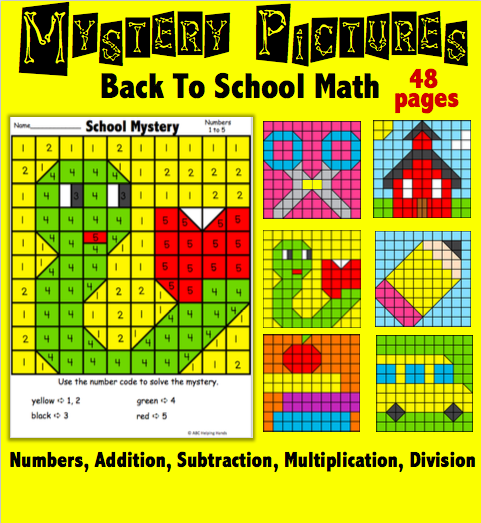 Back to School Math Mystery Pictures