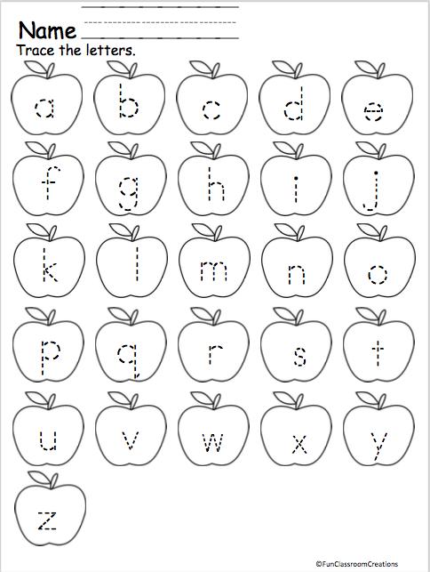 alphabet letter tracing lowercase apples madebyteachers. Black Bedroom Furniture Sets. Home Design Ideas