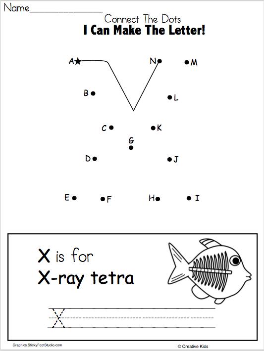 Letter X Writing Worksheet and Dot to Dot - Madebyteachers