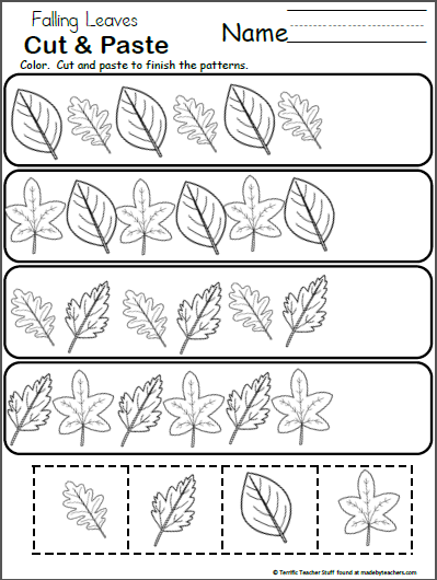 free pattern worksheet for kindergarten fall leaves madebyteachers. Black Bedroom Furniture Sets. Home Design Ideas