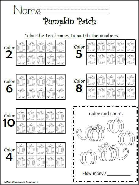 free 10 frames math worksheet kindergarten madebyteachers. Black Bedroom Furniture Sets. Home Design Ideas