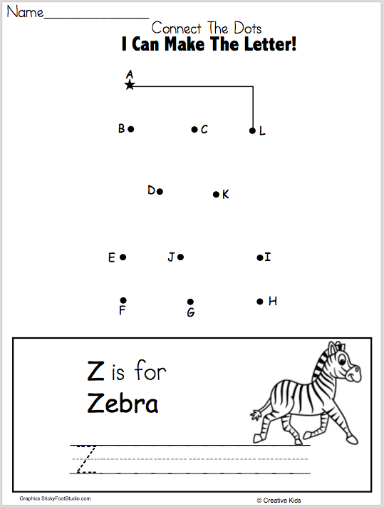 Free Letter Z Writing Worksheet and Dot to Dot - Madebyteachers