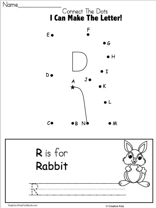 Letter R Writing Worksheet and Dot to Dot - Madebyteachers